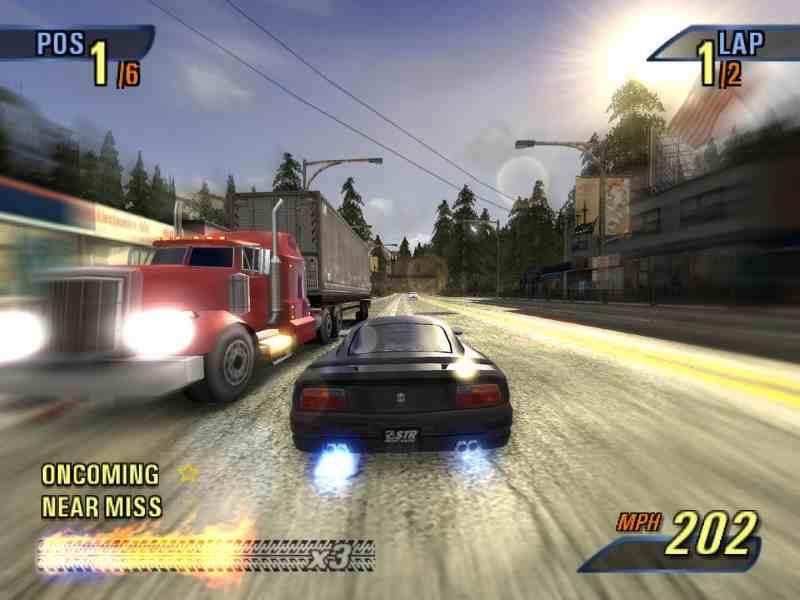 Burnout 3 (building boost in one way) (oncoming traffic, near miss)
