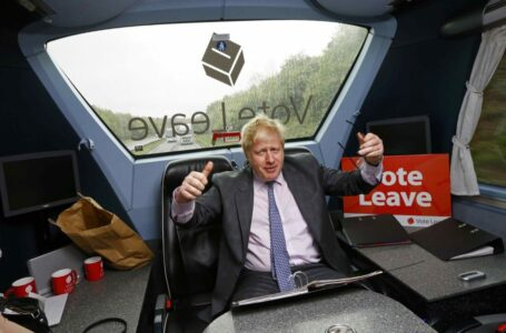 Former London Mayor Boris Johnson gestures in the back of the Vote Leave bus as it heads towards Exeter, in Britain May 11, 2016. REUTERS/Darren Staples