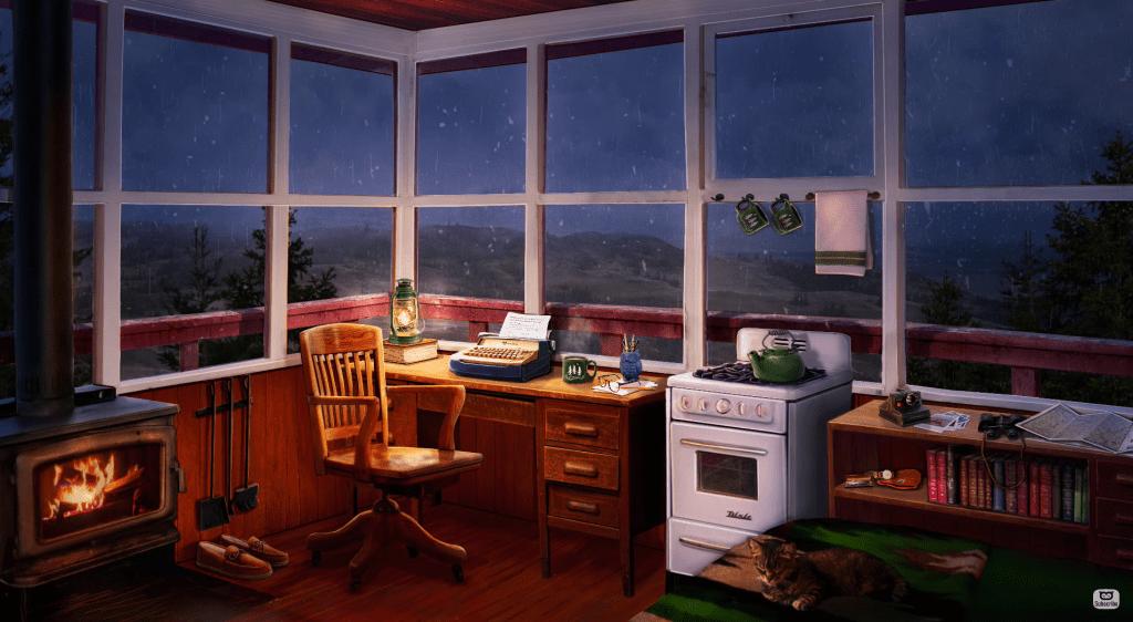 cosy cabin rainy asmr crackle logs ambient soundscape