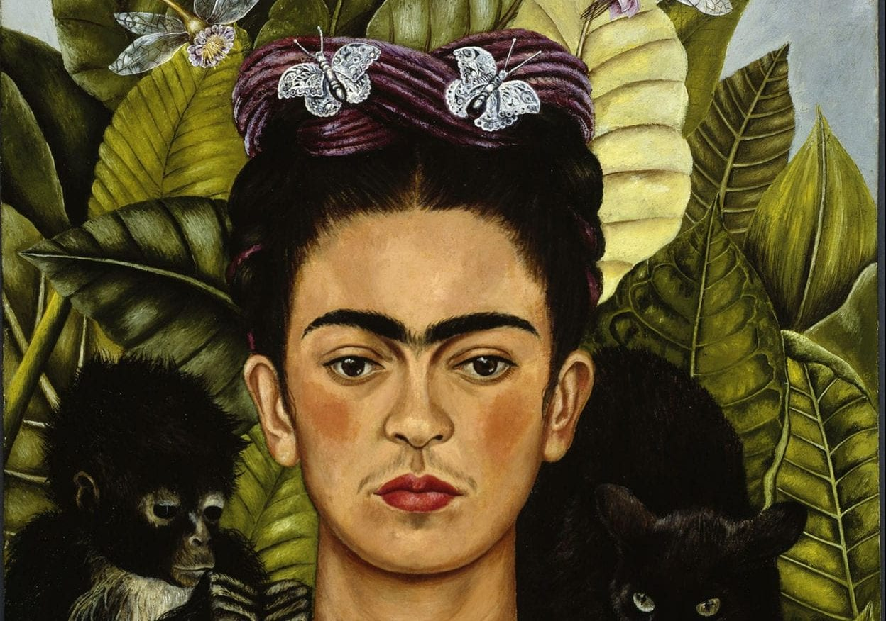 Frida Kahlo, Self Portrait with Necklace of Thorn Necklace and Hummingbird, 1940