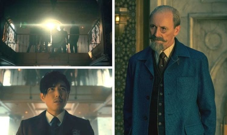 Three photos in one - the top left picture shows a group of people in shadow, the bottom left shows an East-Asian male in school uniform, and the right hand side photo shows an old man with a monocle