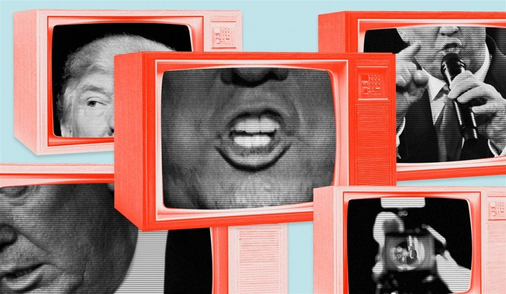 President Trump's face in the screens of many old-fashioned television sets