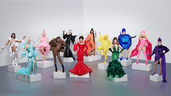A lineup of the 12 contestants on Season 2 of RuPaul's Drag Race UK