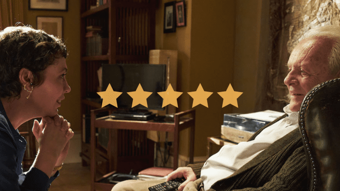 Olivia Coleman and Anthony Hopkins in The Father. Image shows 5 yellow stars